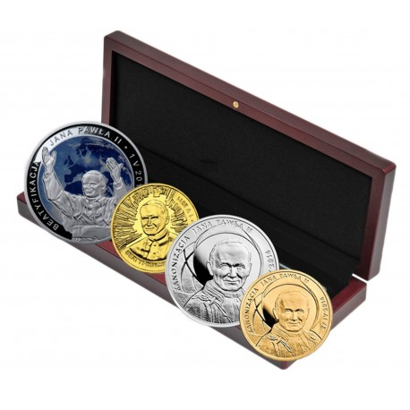 Kanonizacja i Beatyfikacja zestaw 4 monet (srebro+Golden Nordic)
