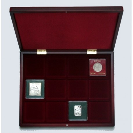 Mahoniowa kaseta do przechowywania 12 monet w klipach