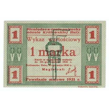 1, 3 mark, banknot zastępczy, Królewska huta