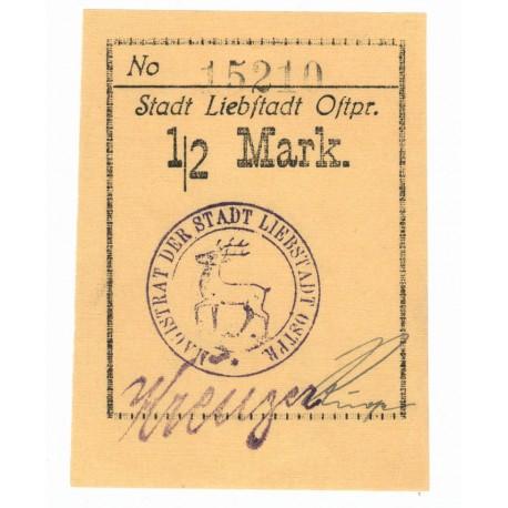 1/2 mark, banknot zastępczy, Miłakowo, (pergamin)