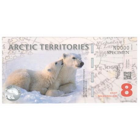8 dollars, Terytoria Arktyki, polimer, specimen 2011