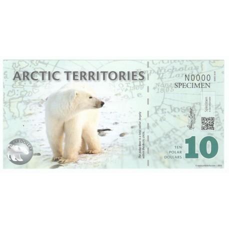 10 dollars, Terytoria Arktyki, polimer, specimen 2012