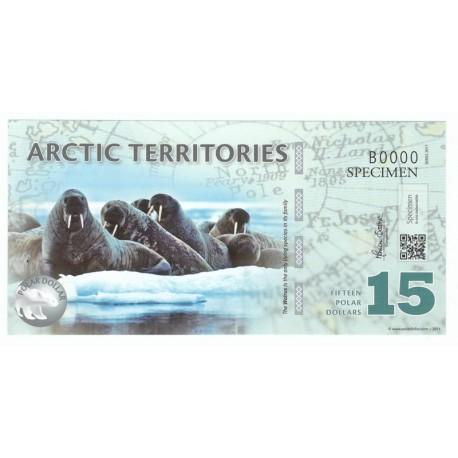 15 dollars, Terytoria Arktyki, polimer, specimen 2011