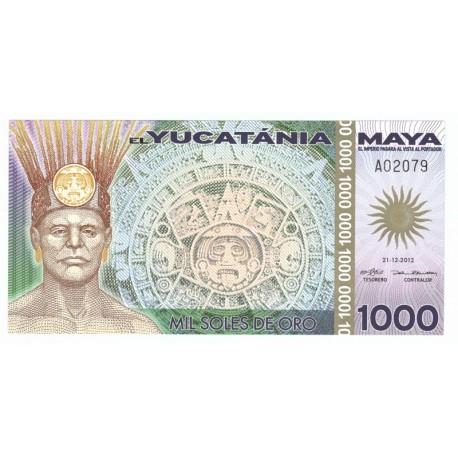 1000 soles de oro, el Yucatania Maya, polimer, 2012