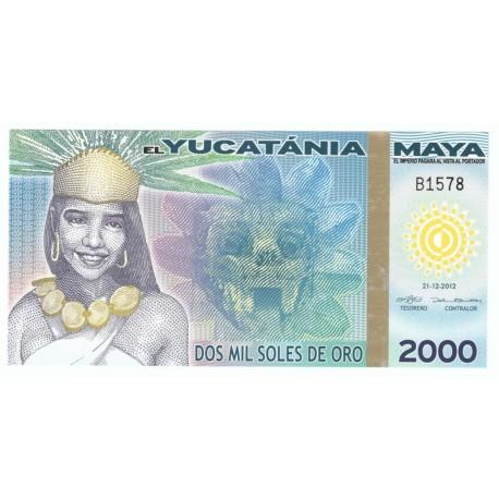 2000 soles de oro, el Yucatania Maya, polimer, 2012