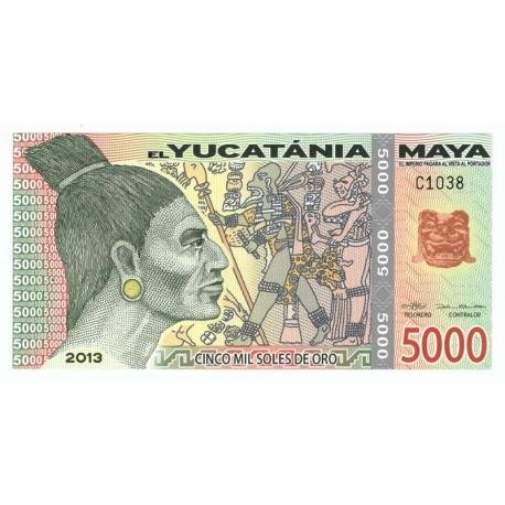 5000 soles de oro, el Yucatania Maya, polimer, 2013
