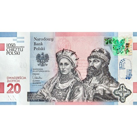 20 zł, banknot kolekcjonerski 1050. rocznica Chrztu Polski