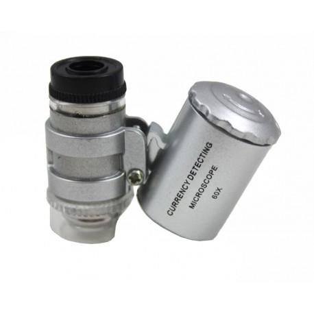 Kieszonkowy mikroskop o powiększeniu 60x, LED i UV