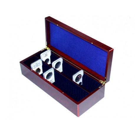 Pudełko mahoniowe do przechowywania 50 monet w slabach