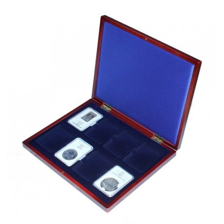 Mahoniowa kaseta do przechowywania 8 monet w slabach