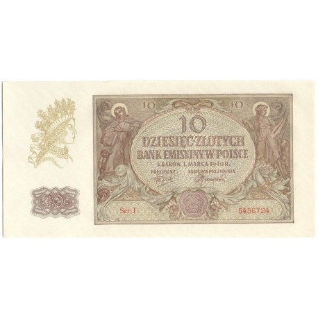 Banknot 10 złotych 1940 seria J, stan 1