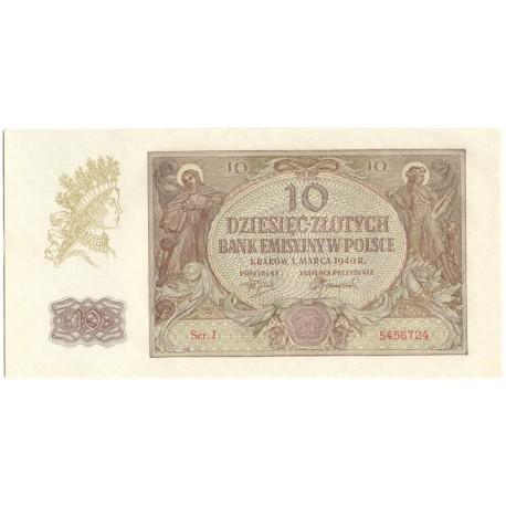 Banknot 10 złotych 1940 seria J, stan 1-