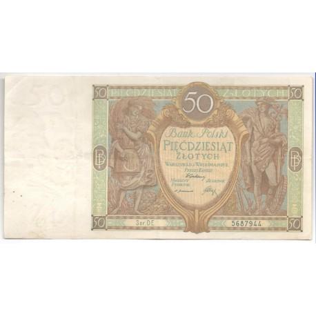 50 złotych 1929 r. Stan III, Seria DE.