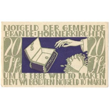 20 Pf banknot zastępczy Brande-Hörnerkirchen 1922