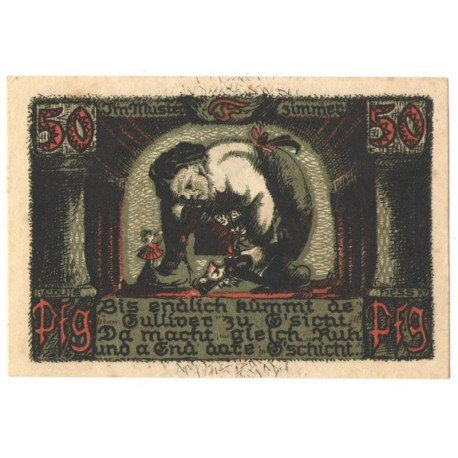 50 Pf banknot zastępczy Sonneberg Puppenkrieg 1922