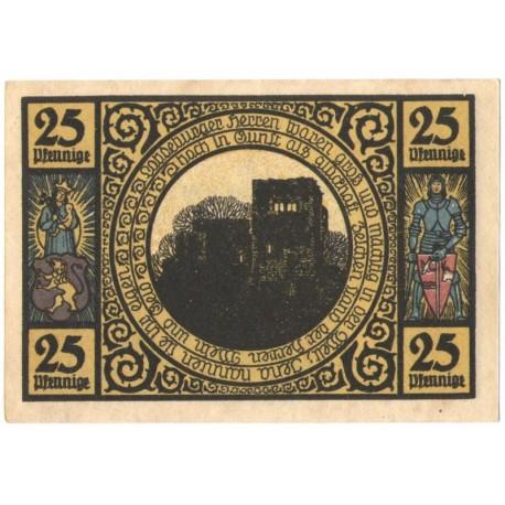 25 Pf banknot zastępczy Miasto Lobeda 1921