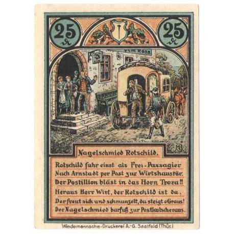 25 Pf banknot zastępczy Roda bei Ilmenau 1921
