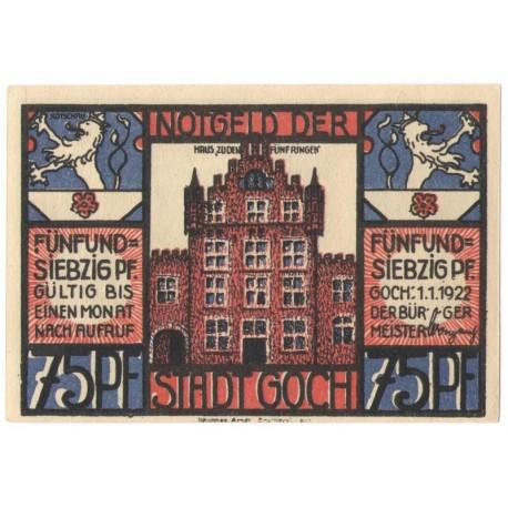 75 Pf banknot zastępczy Goch am Rhein 1922