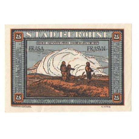 25 Pf banknot zastępczy Miasto Frohse 1921