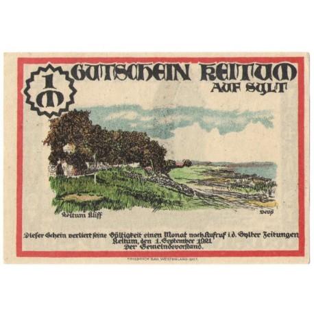 1 mark banknot zastępczy Keitum 1921