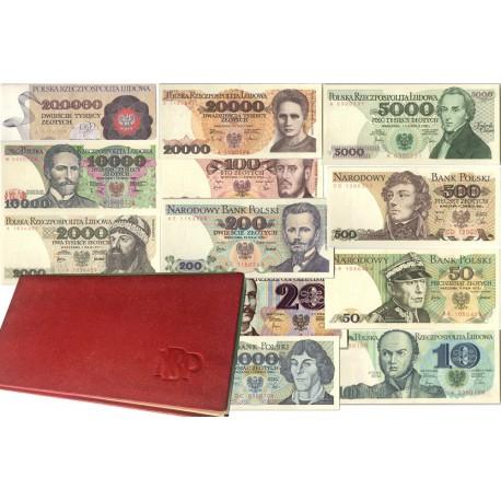 Zestaw 12 polskich banknotów obiegowych PRL, rzadkie serie