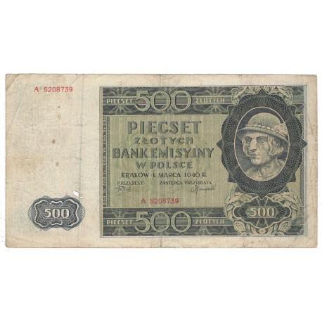 Banknot 500 złotych 1940 seria A, stan 4