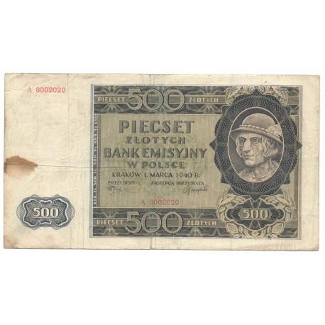 Banknot 500 złotych 1940 seria A, stan 4, A8002020