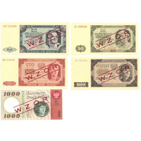 Zestaw 5 wzorów kolekcjonerskich 1948-1965, stan 1