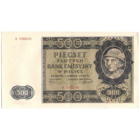 Banknot 500 złotych 1940 seria A, stan 3-
