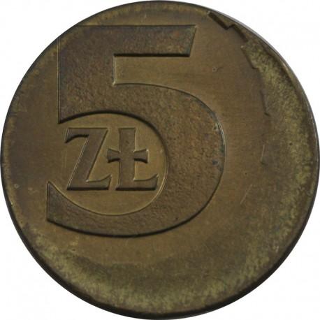 PRL 5 złotych 1975 DESTRUKT st.2