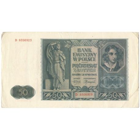 50 złotych 1941 banknot stan 3-