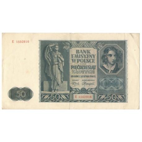 Banknot 50 złotych 1941 stan 3