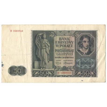 Banknot 50 złotych 1941 stan 3-