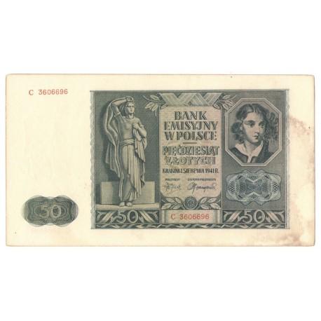 Banknot 50 złotych 1941, stan 2-, nr 3606696