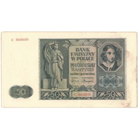 Banknot 50 złotych 1941, stan 3, nr 3606695