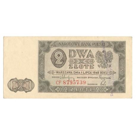 Banknot z pieczątką 2 zł 1948, Stan 2