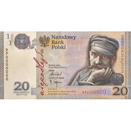20 zł banknot 100 rocznica niepodległości, Piłsudski, niepodległość