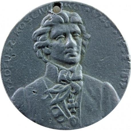 Odlew medalu z 1917 roku z wizerunkiem Tadeusza Kościuszki