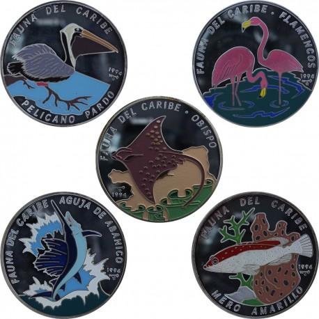 Zestaw 5 x 50 pesos, 5 uncji Ag 999 każda, Kuba, Fauna Karaibów