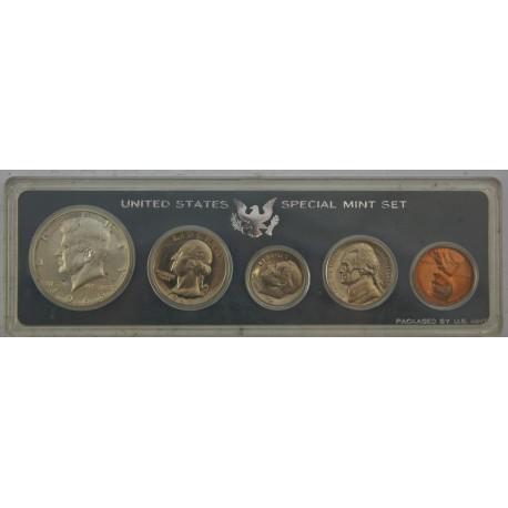 Zestaw 5 monet od 1 centa do 1/2 Dolara 1966 rok