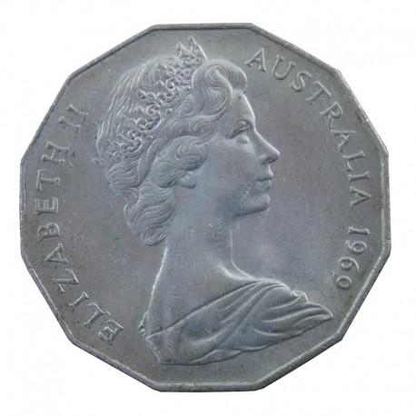50 CENTÓW 1969 AUSTRALIA Królowa Elżbieta II, stan 3