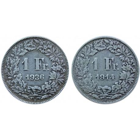 2 x 1 Frank 1914 B, 1936 B, odwrotka, stan 2, piękne
