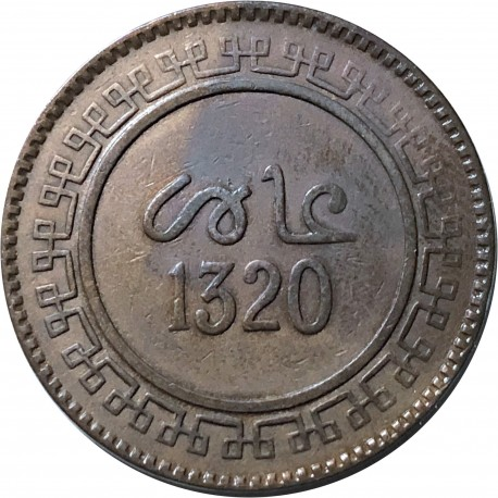 Maroko 10 mazunas, 1902, (1332 według kalendarza islamskiego)