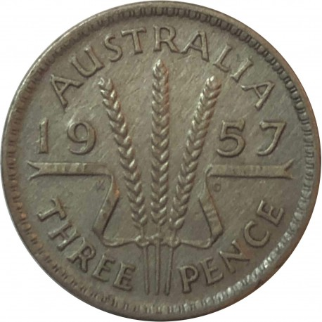 Australia 3 pensy, 1957, srebro