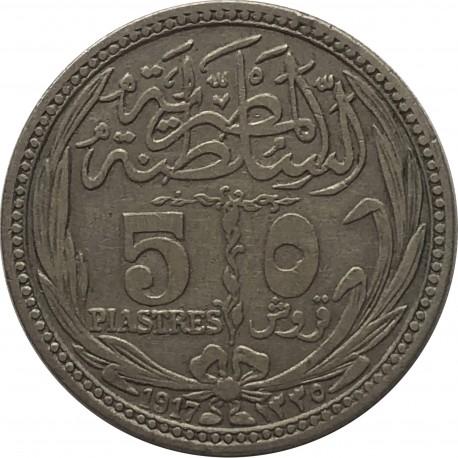 Egipt 5 piastrów, 1917, srebro, stan 3