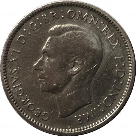 Australia 6 pensów, 1943, srebro, stan 3