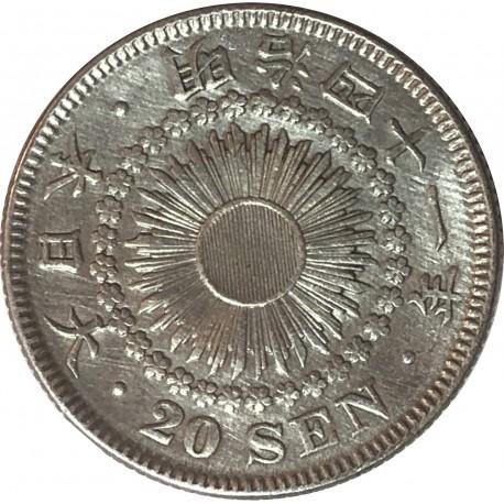Japonia, 20 senów, 1908, stan 1-