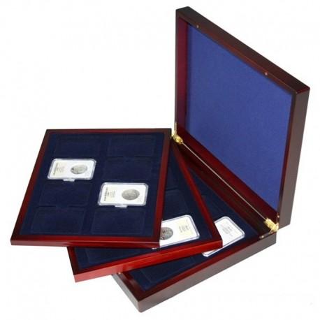 Mahoniowa kaseta do przechowywania 24 monet w gradingu