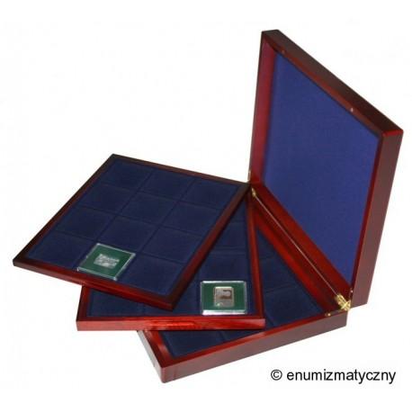 Mahoniowa kaseta do przechowywania 36 monet typu klipa
