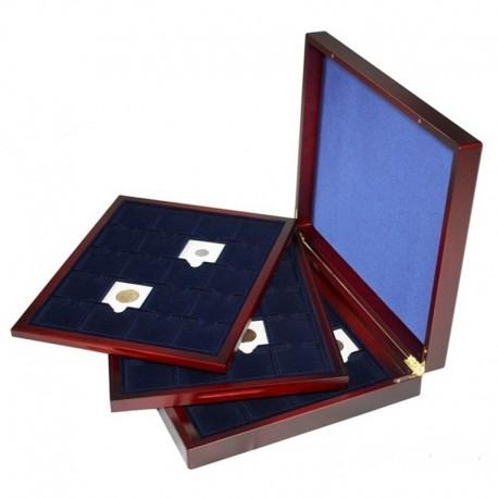 Mahoniowa kaseta do 60 monet w holderach lub kapslach quadrum